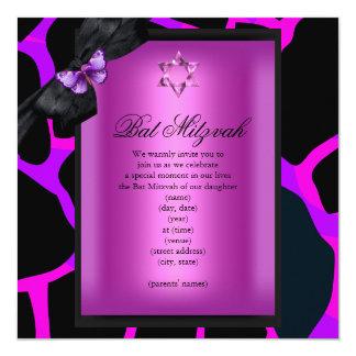 Bat Mitzvah Wild Pink Purple Butterfly 13 Cm X 13 Cm Square Invitation Card
