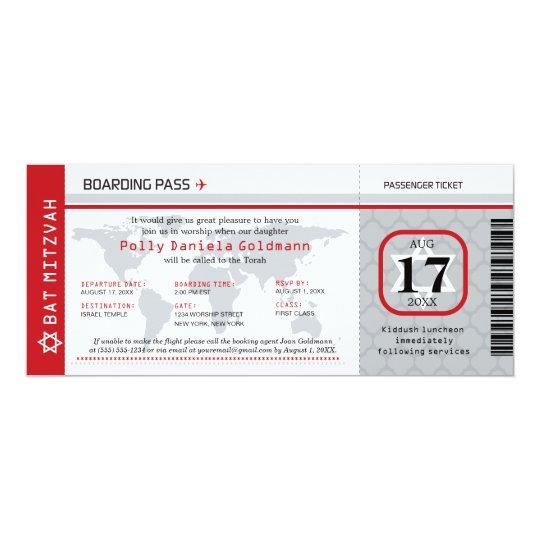 Bat Mitzvah World Traveller Boarding Pass Card