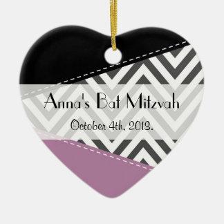 Bat Mitzvah - Zigzag, Chevron - Gray Purple Black Ceramic Heart Decoration