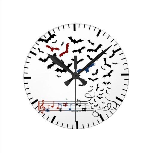 Bat Music Design 2 Round Wall Clocks