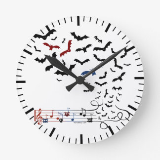 Bat Music Design 2 Round Clock
