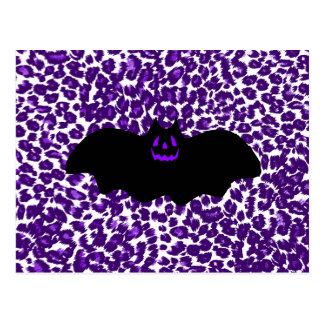 Bat on a Purple Leopard Spot Background Postcard