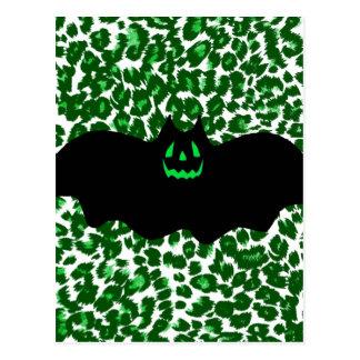 Bat On Green Leopard Spots Postcard