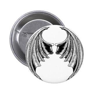 Bat or Dragon Wings Design 6 Cm Round Badge