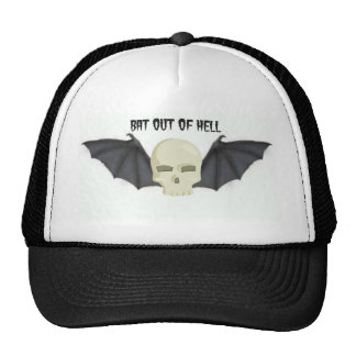 BAT OUT OF HELL WINGED SKULL PRINT CAP
