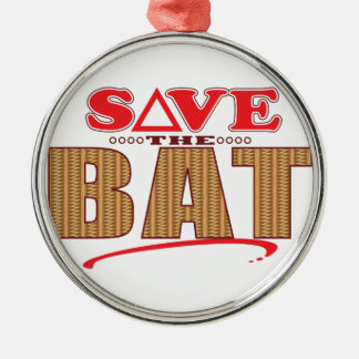 Bat Save Silver-Colored Round Decoration