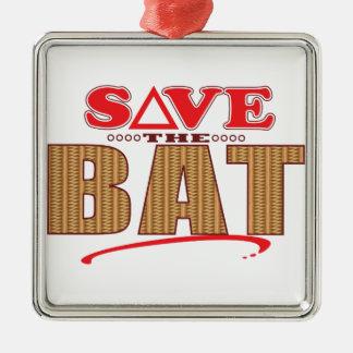 Bat Save Silver-Colored Square Decoration
