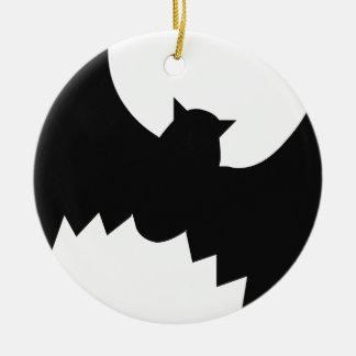 Bat silhouette round ceramic decoration