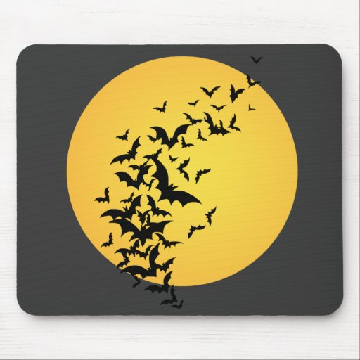 Bat Silhouettes On the Moon Mousepad