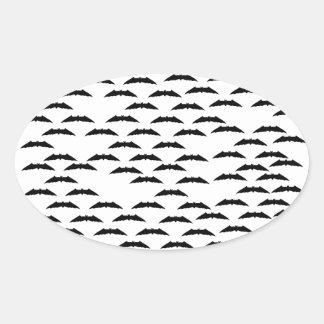Bat swarm oval sticker