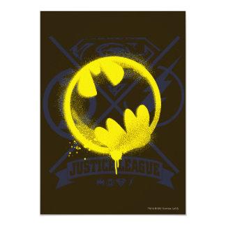 Bat Symbol Tagged Over Justice League 13 Cm X 18 Cm Invitation Card