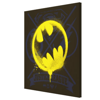 Bat Symbol Tagged Over Justice League Canvas Print