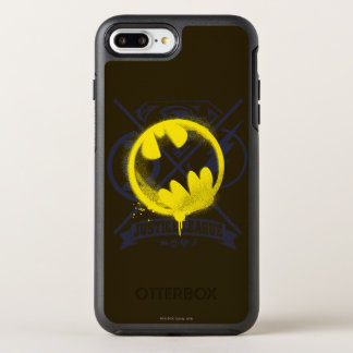 Bat Symbol Tagged Over Justice League OtterBox Symmetry iPhone 7 Plus Case