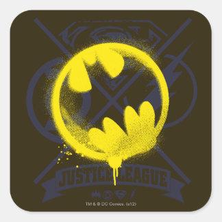 Bat Symbol Tagged Over Justice League Square Sticker