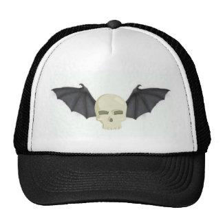 BAT WINGED SKULL IN FLIGHT PRINT CAP