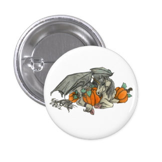 Bat winged Unicorn protecting a pumpkin patch 3 Cm Round Badge