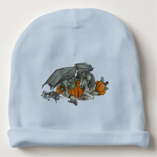 Bat winged Unicorn protecting a pumpkin patch Baby Beanie