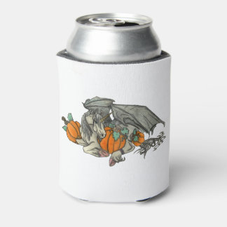 Bat winged Unicorn protecting a pumpkin patch Can Cooler