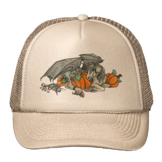 Bat winged Unicorn protecting a pumpkin patch Cap