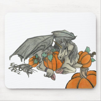 Bat winged Unicorn protecting a pumpkin patch Mouse Pad