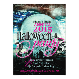 Bat Wings Moon Fairy-tale Halloween Party Card