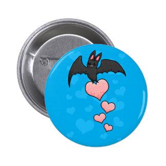 Bat with hearts 6 cm round badge