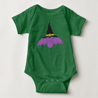 Bat with Witchs Hat Baby Bodysuit