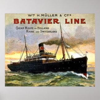 Batavier Line - Vintage Travel Poster