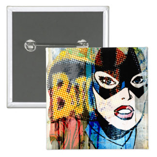 Batgirl Head 15 Cm Square Badge