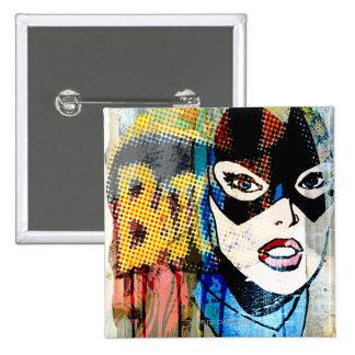 Batgirl Head 15 Cm Square Badge