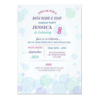 Bath Bomb Soap Making Bubble Birthday Party Invite