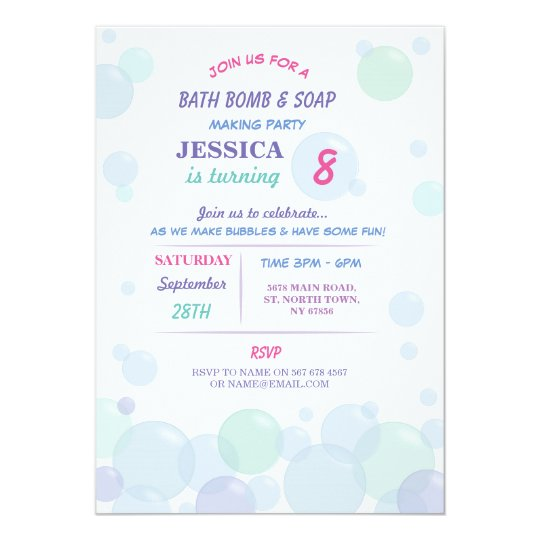 Bath bomb soap making bubble birthday party invite zazzle bath bomb soap making bubble birthday party invite filmwisefo