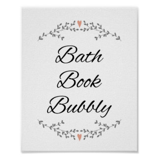 Bath Book Bubbly Bathroom Wall Print