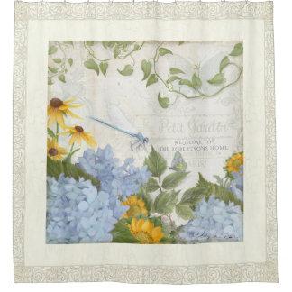Bath Decor Farmhouse Vintage Floral Dragonfly Art Shower Curtain