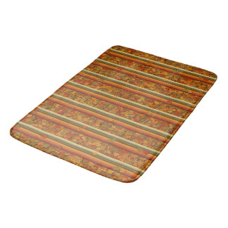 Bath Mat - Autumn Leaves and Stripes