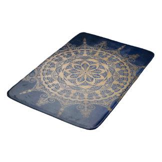Bath Mat Blue Golden Mandala Design