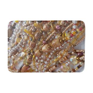 Bath Mat- Natural Earthtones, Bronze Beads Print Bath Mat