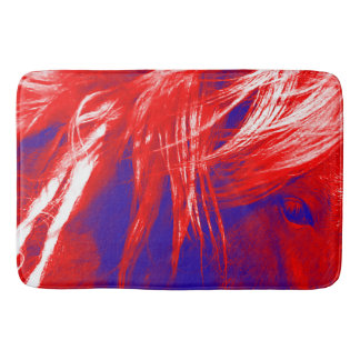 Bath Mat Patriotic Red White Blue Horse
