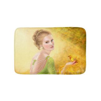 Bath Mat romantic woman and fantasy gold bird Bath Mats