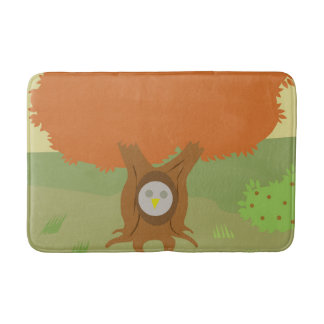 bath mat with owl in fall tree