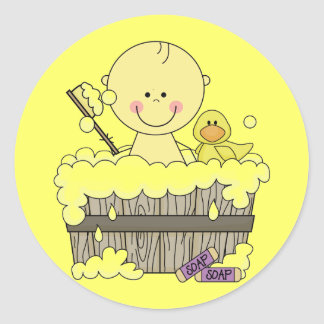 Bath Time Boy Tshirts and Gifts Classic Round Sticker