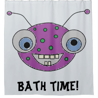 BATH TIME Cute Purple Alien Monster Kids Shower Curtain