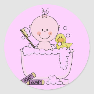 Bath Time Girl Tshirts and Gifts Round Sticker