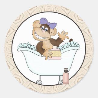 Bath Time Monkey cartoon sticker