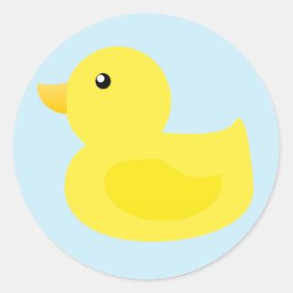 Bath Time Yellow Duck Round Sticker