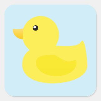 Bath Time Yellow Duck Square Sticker