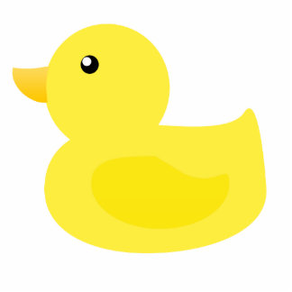 Bath Time Yellow Duck Standing Photo Sculpture