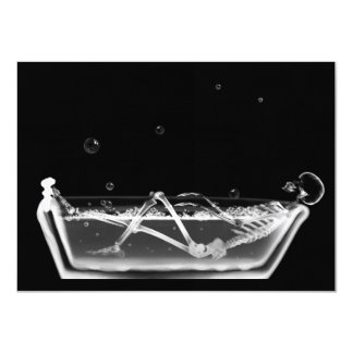 Bath Tub X-Ray Skeleton Black & White 11 Cm X 16 Cm Invitation Card