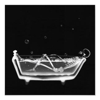 Bath Tub X-Ray Skeleton Black & White 13 Cm X 13 Cm Square Invitation Card