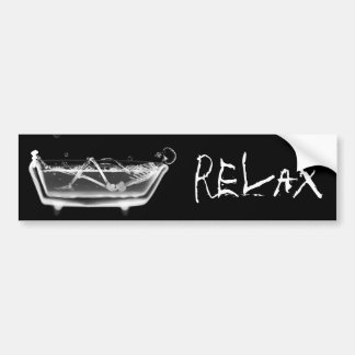 Bath Tub X-Ray Skeleton Black & White Bumper Sticker